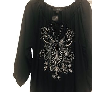 Lane Bryant | Black & White Embroidered Blouse